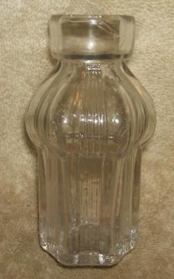 Antique Small Three Piece Mold Hand Blown Clear Glass Cathedral Style Bottle