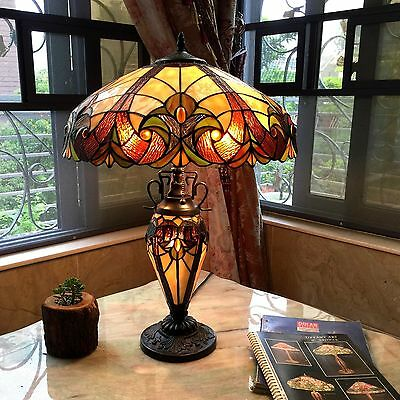 Tiffany-style Table Lamp Lighted Base 2 Lights Victorian Stained Glass Light New