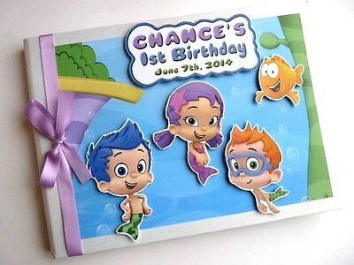 Personalised Bubble Guppies Boy/girl /first/1St Birthday Guest Book - Any Design