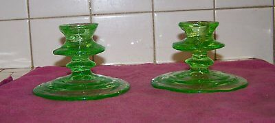 Consolidated Glass Pair Of Emerald Green Catalonian Candlesticks 1927-1940's.