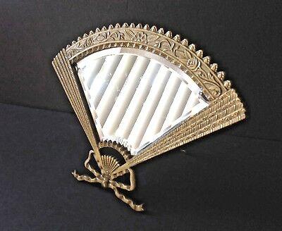 VTG Large French Solid Brass, Art/deco Nouveau Fan Self Standing Vanity Mirror