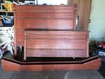 Antique High Back Oak Full Size Bed Frame / Victorian Wood Vintage