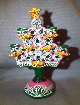 Vintage Mexican Pottery ARTS AND CRAFTS Folk Art Tree of Life Candelabra CANDLE