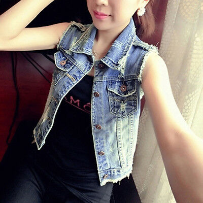 FT- Women's Fashion Casual Jeans Vest Short Style Denim Waistcoat Outerwear Perf