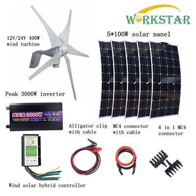 900W Kit: 400W Wind Turbines + 5*100W Solar Panel + Controller + 3000W Inverter