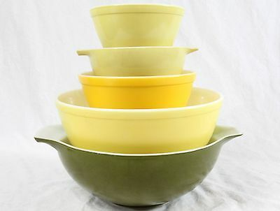 Pyrex Vintage Lot (5) Primary Colors Yellow & Green Nesting Mixing Bowl 4 Quart