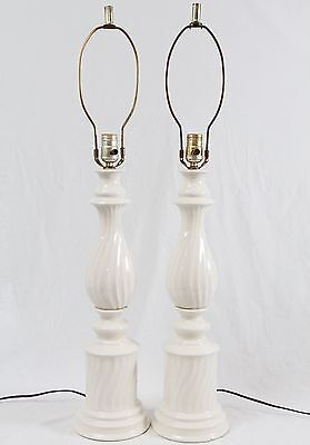 White Ceramic Architectural Column Table Lamps Pair Vintage Hollywood Regency