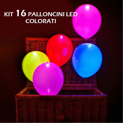 Kit Da16 Palloncini Color Luminosi Con Luce Led All'interno Per Feste Compleanni
