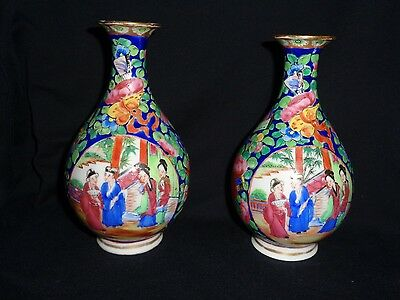 Pair of Antique 18th Century Chinese hand painted porcelain vases