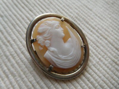 Broche Ancienne Argent Massif Vintage Camee Agate Rose Blanc Ecru Sanglier B1053