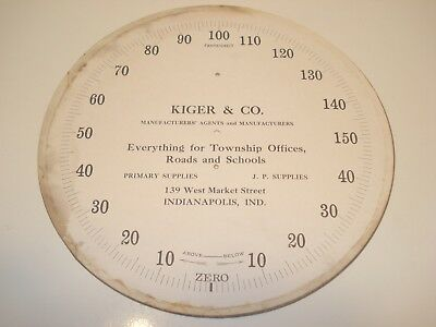 """1885 Standard Thermometer Advertising 9"""" Round Antique Paper Dial """"KIGER & CO."""""""