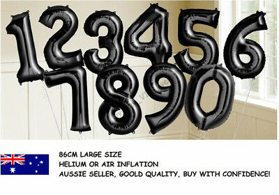 Large Black Foil Number Balloon 86Cm Birthday Party Helium 1St 18Th 21St 30Th 40