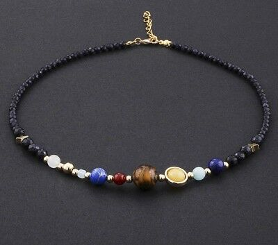 Universe Galaxy Eight Planets Solar System Natural Stone Beaded Necklace