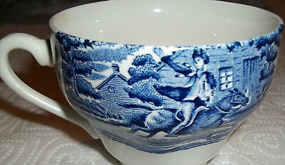 Pretty Liberty Blue Style Horse & Rider Coffe Tea Cup Blue on White England