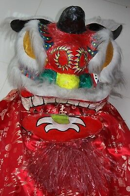 LION parade mask Chinese New Year vintage old good luck & fortune sculpture head