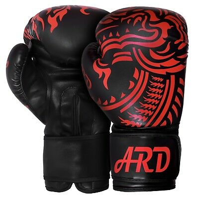 ARD® Art Leather Boxing Gloves Fight Punching Bag MMA Muay Thai Kickboxing- BLK