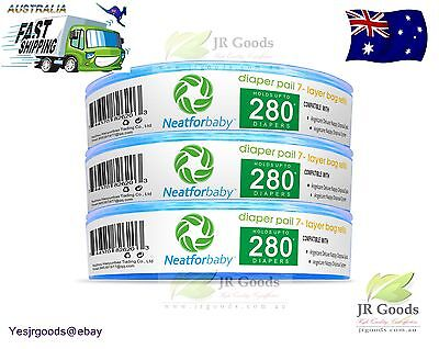 3x Neatforbaby Nappy Disposal Cassette Refill Angelcare Playtex Genie Compatible