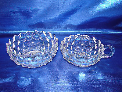 """Pair of Fostoria American Clear Crystal Bowls- Handled 4 1/2"""" & 5 1/2""""  2056"""