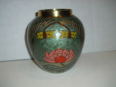 Antique Rare Cloisonne Enamel Brass Vase With Dragonfly & Floral Inlay