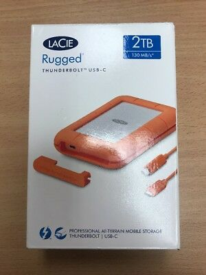 LaCie Rugged Thunderbolt USB-C 2TB External Hard Drive - UK Seller - Fast Dispat