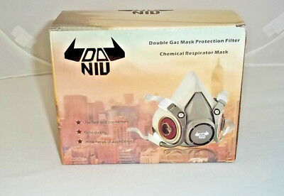 N95 Double Gas Mask Protection Filter Chemical Half Face Respirator DANIU 6200