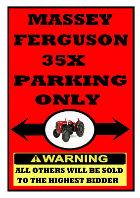 MASSEY FERGUSON 35X PARKING ONLY fun METAL SIGN gift plaque classic 35 X Tractor