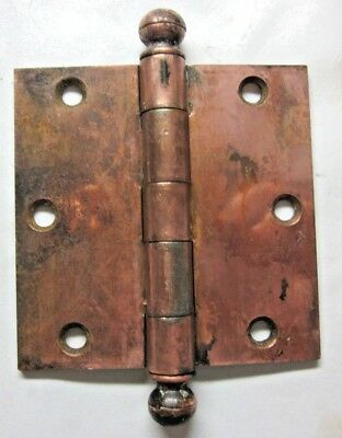 """1 GM.Co. Antique Square 3-1/2"""" Copper Plated Mortise Door Hinge Ball Tip Finial"""