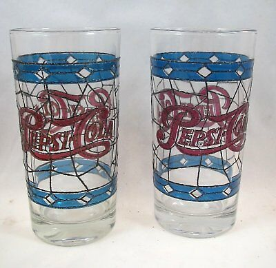 2 Original 1970's Pepsi-Cola Vintage Tiffany Style Raised Stain Glass Tumbler