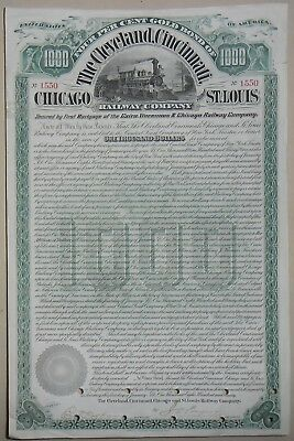 The Cleveland, Cincinnati Chicago and St Louis Raiway compagny certificate 1890