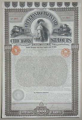 The Cleveland, Cincinnati Chicago and St Louis Raiway compagny certificate(2485)