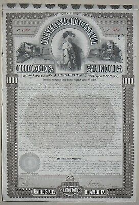 The Cleveland, Cincinnati Chicago and St Louis Raiway compagny certificate(3282)