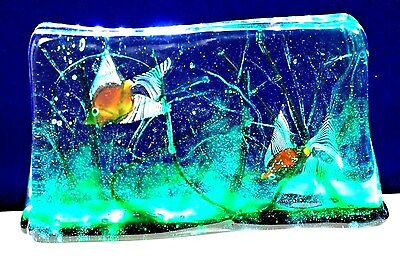 Large GLAMOROUS Vintage MURANO Cenedese FISH AQUARIUM Art Glass SCULPTURE 11""