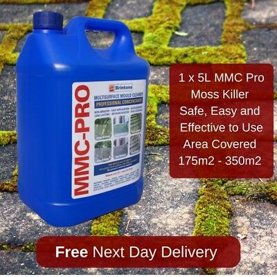 5L Mmc Pro Moss Killer Hard Surface Cleaner Clear Algae Driveway Patio Last Upto