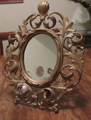 "Antique Victorian Rococo Cast Iron Frame 8x11"" Easel Back Oval Opening w/ Mirror"