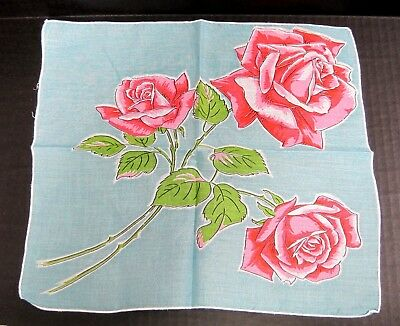 """Vintage Hankie Bright Light Blue w Shades of PINK Roses 12 1/4"""" In Great Shape"""