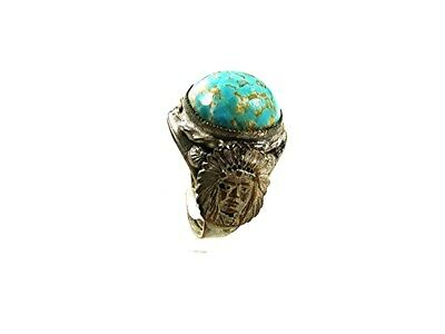 Vintage Silver Tone Blue Green Indian Chief Ring Sz 7 1/2 Adjustable 13117