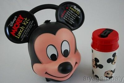Vintage Disney MICKEY MOUSE Head & Ears Lunch Box Kit with 8 oz Thermos Aladdin