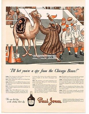 1941 PAUL JONES Whiskey Camel Spy For CHICAGO BEARS Football art JW Vtg Print Ad