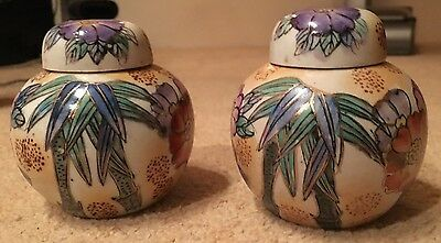 TWO VINTAGE style CHINESE PORCELAIN FLOWERS & LEAVES DESIGN GINGER JARs 9cm tall