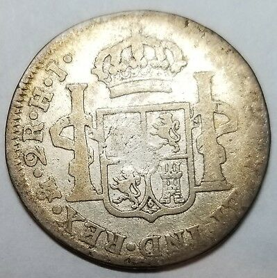 Mexico Colonial 1810 Mo HJ 2 Reales silver coin Fernando VII Free Shipping KM#92