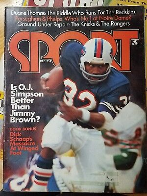 Vintage December 1974 SPORT Magazine COVER ONLY O.J. Simpson Buffalo Bills