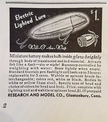 1939 Will O' the Wisp ELECTRIC FISHING Lure Original Vintage Advertising