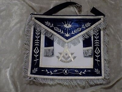 Past Master Mason Apron w/ Square Silver Bullion Blue Tassels Satin Pocket NEW!