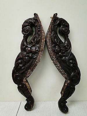 Vintage Pair of Carved Mahogany Sofa Front Legs