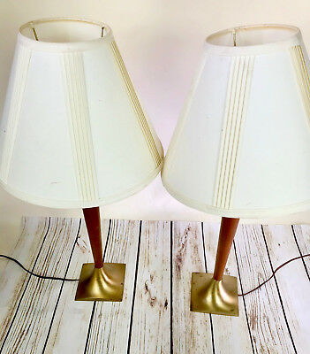 Pair Of Fantastic Wood-Walnut-& Brass Mid Century Lamps Classic Style Vtg Eames