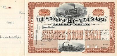 The Scioto Valley and New England Railroad compagny Certificate 18
