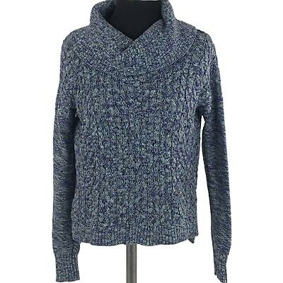 American Eagle Outfitters Womens Sweater Small Cowl Neck Blue Marled