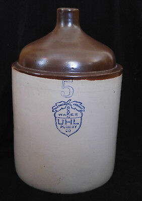 UHL Pottery Co. Acorn Wares 5 Gallon Brown Top Stoneware Whiskey Shoulder Jug