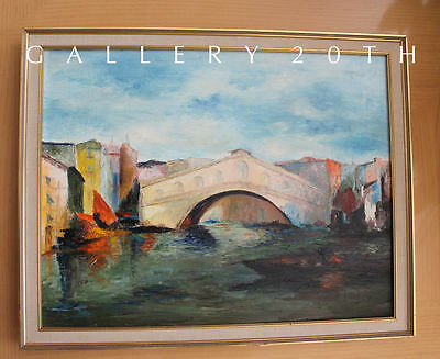 MID CENTURY MODERN OIL PAINTING! Venice Art Vtg Cityscape Expressionist 60s 50s