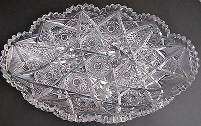 American Brilliant Period hand Cut Glass tray abp Hobstar antique Hand polished